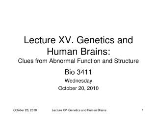 Lecture XV. Genetics and Human Brains:  Clues from Abnormal Function and Structure