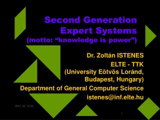 "Second Generation Expert Systems (motto: ""knowledge is power"")"