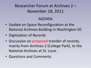 Researcher Forum at Archives 2 – November 18, 2011