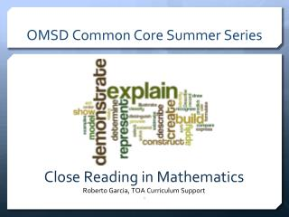 OMSD Common Core Summer Series