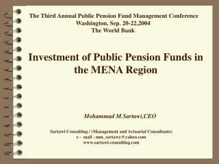 Investment of Public Pension Funds in the MENA Region