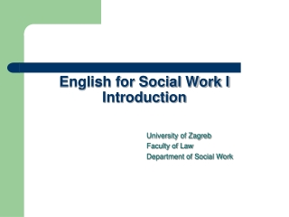 English for Social Work I Introduction