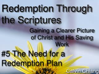 #5 The Need for a Redemption Plan