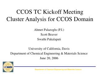 CCOS TC Kickoff Meeting Cluster Analysis for CCOS Domain