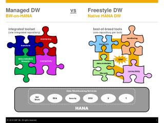 Managed DW                     vs 	Freestyle DW BW-on-HANA				Native HANA DW