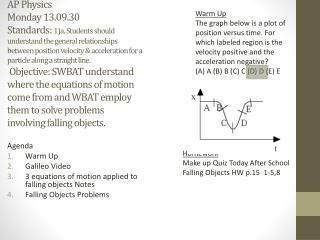 Agenda Warm Up Galileo Video 3 equations of motion applied to falling objects Notes