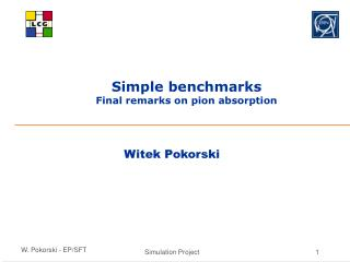 Simple benchmarks  Final remarks on pion absorption