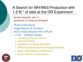 A Search for WH/Wb   Production with 1.2 fb -1  of data at the D Ø  Experiment