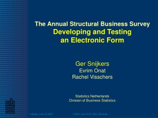 The Annual Structural Business Survey Developing and Testing  an Electronic Form