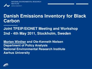 Danish Emissions Inventory for Black Carbon