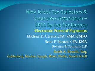 New Jersey Tax Collectors & Treasurers Association –   2011 Spring Conference