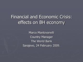 Financial and Economic Crisis:  effects on BH economy