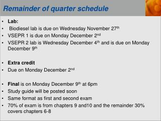 Remainder of quarter schedule