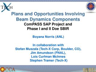 Plans and Opportunities Involving Beam Dynamics Components ComPASS SAP Project and