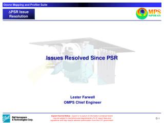 Issues Resolved Since PSR