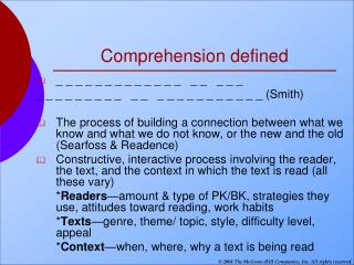 Comprehension defined