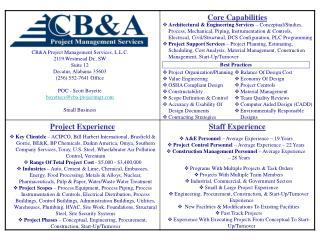 CB&A Project Management Services, L.L.C. 2119 Westmead Dr., SW Suite 12 Decatur, Alabama 35603