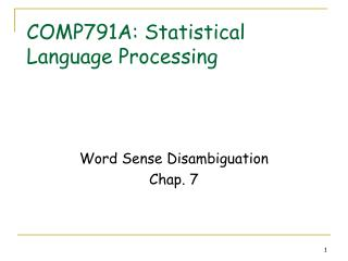 COMP791A: Statistical Language Processing
