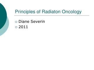 Principles of Radiaton Oncology
