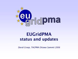 EUGridPMA  status and updates David Groep, TAGPMA Ottawa Summit 2006