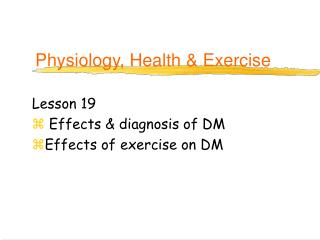Physiology, Health & Exercise