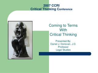 2007 CCRI Critical Thinking C onference