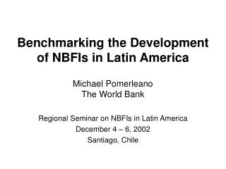Benchmarking the Development of NBFIs in Latin America