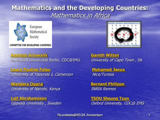 Mathematics and the Developing  Countries: Mathematics  in  Africa