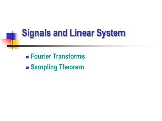 Signals and Linear System