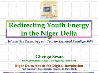 Redirecting Youth Energy in the Niger Delta