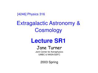 Extragalactic Astronomy & Cosmology Lecture SR1