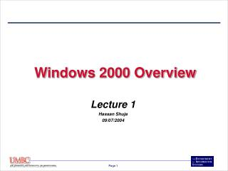 Windows 2000 Overview