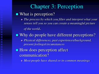 Chapter 3: Perception