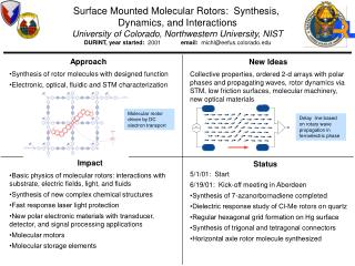 Surface Mounted Molecular Rotors:  Synthesis,  Dynamics, and Interactions