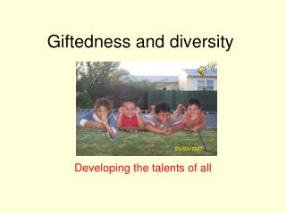 Giftedness and diversity