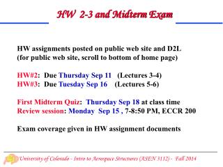HW  2-3 and Midterm Exam