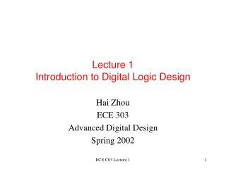 Lecture 1 Introduction to Digital Logic Design