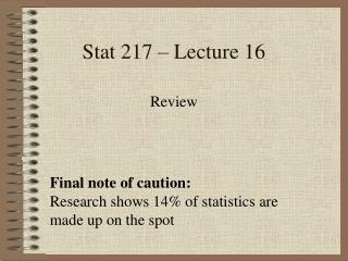 Stat 217 – Lecture 16
