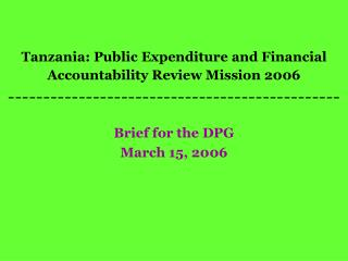 Brief for the DPG March 15, 2006