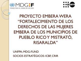UNFPA; MDG-FUND SOCIOS ESTRATÉGICOS: ICBF, CRIR