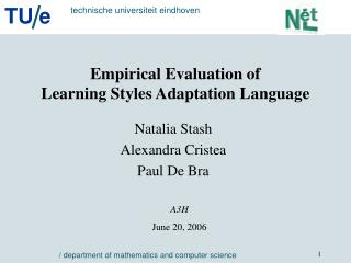 Empirical Evaluation of  Learning Styles Adaptation Language