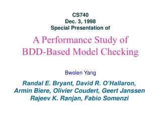 A Performance Study of  BDD-Based Model Checking