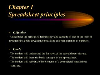 Chapter 1  Spreadsheet principles