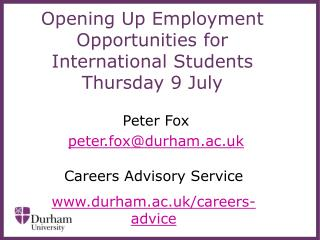 Opening Up Employment Opportunities for International Students  Thursday 9 July