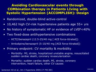 Randomized, double-blind active-control 10,462 high CV-risk hypertensive patients age 55+ yrs