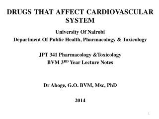 DRUGS THAT AFFECT CARDIOVASCULAR SYSTEM