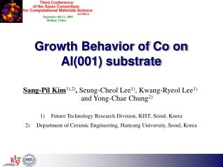Growth Behavior of Co on Al(001) substrate