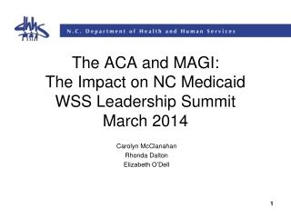 The ACA and MAGI: The Impact on NC Medicaid WSS Leadership Summit March 2014