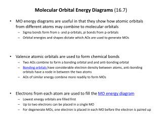Molecular Orbital Energy Diagrams  (16.7)