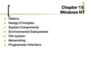 Chapter 15:   Windows NT